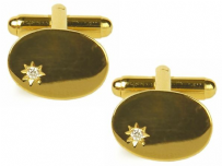 Dalaco 90-9001 Oval Cubic Zirconia Star Gold Plated Cufflinks